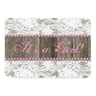 Rustic Barn Wood Pink Pearls and Lace Baby Shower Card