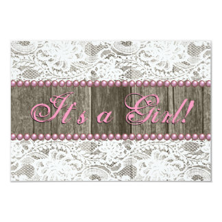 Rustic Barn Wood Pink Pearls and Lace Baby Shower Personalized Invitation