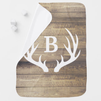 Rustic Barn Wood Planks White Deer Antlers & Name Baby Blanket