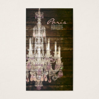 Rustic Barn Wood purple french chandelier Business Card