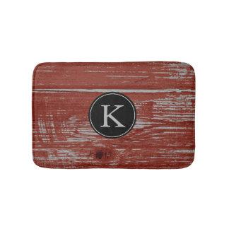 Rustic Barn Wood | Red Monogrammed Initial Bathroom Mat