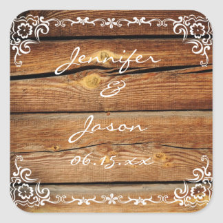 Rustic Barn Wood Scroll Frame Wedding Sticker Seal