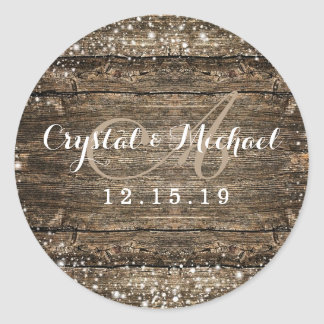 Rustic Barn Wood Snowflakes Winter Wedding Classic Round Sticker