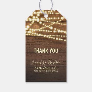 Rustic Barn Wood String Lights Wedding Gift Tags