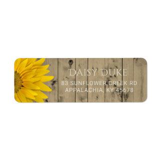 Rustic Barn Wood Sunflower Country Chic Return Address Label