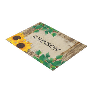 Rustic Barn Wood Sunflower Doormat  | Zazzle