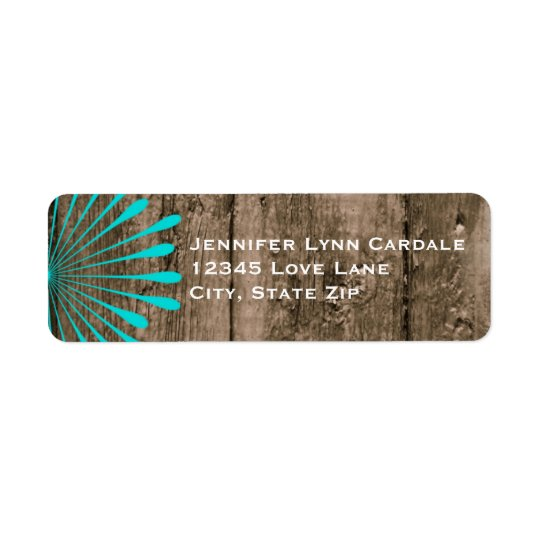 Rustic Barn Wood Teal Flower Address Labels
