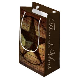 rustic barn wood texas star western wedding favor small gift bag
