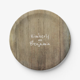 Rustic Barn Wood Texture Old Aged Paper Plate