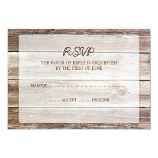 "Rustic Barn Wood Wedding RSVP Response Card 3.5"" X 5"" Invitation Card"