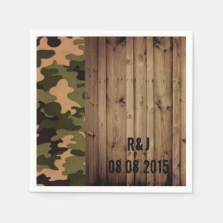 rustic barn wood western country Camo Wedding Paper Napkins