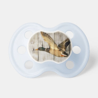 Rustic Barn wood Western Country flying Wild Duck Baby Pacifier