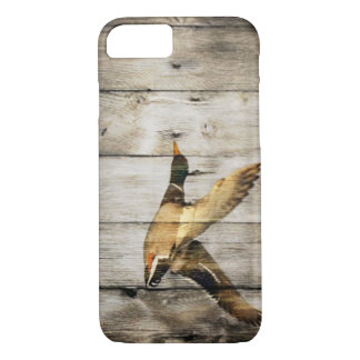 Rustic Barn wood Western Country flying Wild Duck iPhone 8/7 Case