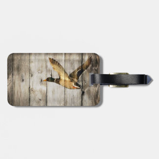 Rustic Barn wood Western Country flying Wild Duck Luggage Tag
