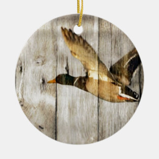 Rustic Barn wood Western Country flying Wild Duck Round Ceramic Ornament
