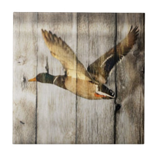 Rustic Barn wood Western Country flying Wild Duck Tile