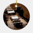 Rustic Barn Wood Western Country Music Guitar Ceramic Ornament