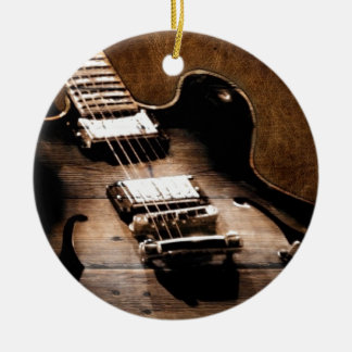 Rustic Barn Wood Western Country Music Guitar Ceramic Ornament