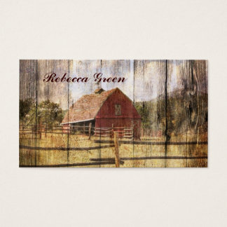 rustic barn wood western country red barn wedding business card