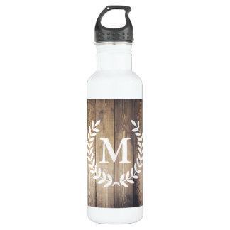 Rustic Barn Wood & White Country Laurels Monogram 710 Ml Water Bottle