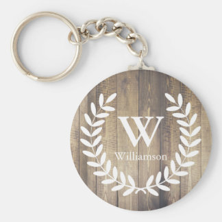 Rustic Barn Wood & White Country Laurels Monogram Keychain