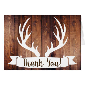 Rustic Barn Wood & White Deer Antlers Thank You Card