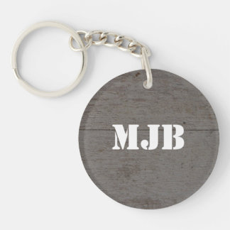 Rustic barn wood with monogram or name keychain