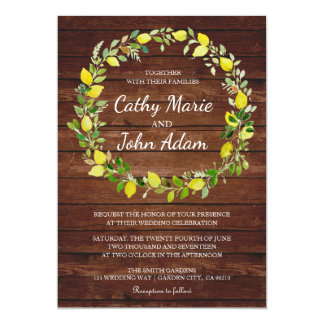Rustic Barnhouse Floral Wreath Wedding invitation