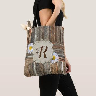 Rustic Barnwood and Daisies (CUSTOM INITIAL) Bag