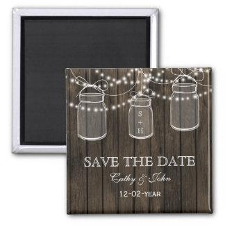 Rustic Barnwood mason jar save the Date Square Magnet