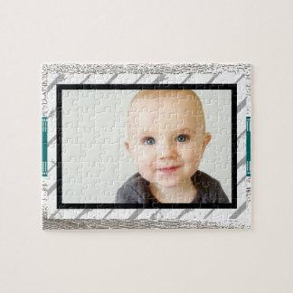 Rustic Barnwood Pattern Baby Photo Jigsaw Puzzle