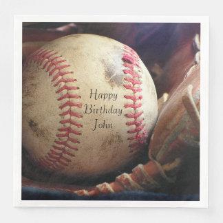 Rustic Baseball Happy Birthday Name Napkins Disposable Napkin