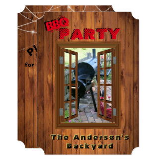 Rustic BBQ Barbecue Back Yard Potluck Party Card