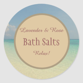 Rustic Beach Bath Salt Mason Jar Classic Round Sticker