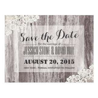 Rustic Beach Driftwood Laced Save the Date Postcard