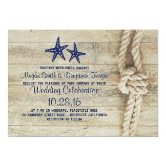 Rustic Beach Driftwood Nautical Rope Navy Wedding Card