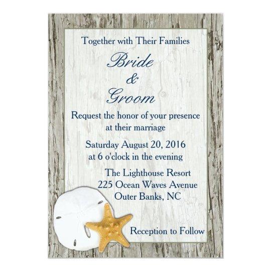 Rustic Beach Driftwood Sand Dollar Wedding Card