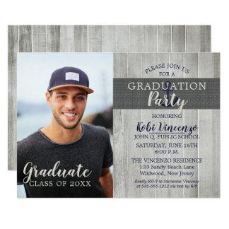 Rustic Beach Nautical Photo Graduation Party Card