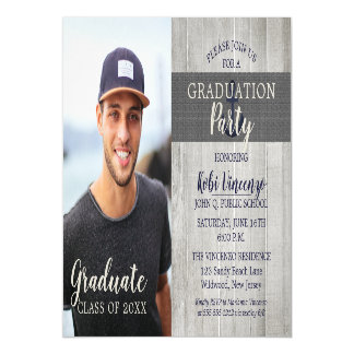 Rustic Beach Nautical Photo Graduation Party Magnetic Card