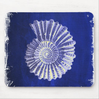 rustic beach  ocean blue vintage sea shells mouse pad