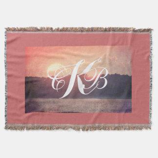 Rustic Beach Sunset Throw Blanket