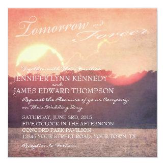 "Rustic Beach Sunset Wedding 5.25"" Square Invitation Card"