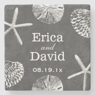 Rustic Beach Themed Seashells Chalkboard Wedding Stone Coaster