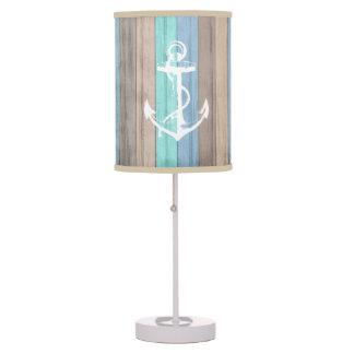 Rustic Beach Wood Nautical Stripes & Anchor Table Lamp