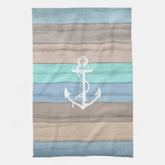 Rustic Beach Wood Nautical Stripes & Anchor Towels