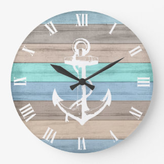 Rustic Beach Wood Nautical Stripes & Anchor Wall Clock
