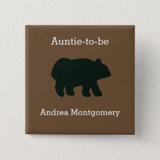 Rustic Bear Custom Button Name Tag
