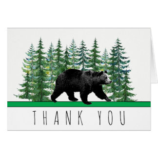 Rustic Bear Fir Tree Thank You Cards