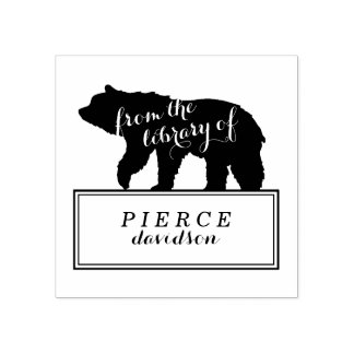 Rustic Bear Kids Bookplate Label Rubber Stamp