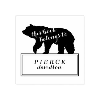 Rustic Bear Kids Monogrammed Bookplate Stamp